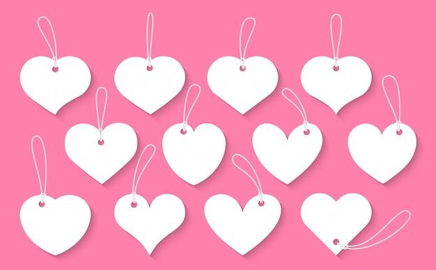 Corte de papel corações conjunto de etiquetas vintage. sinal de dia dos namorados, etiquetas de preço modelo vazio para caixa de texto de forma diferente com sombra