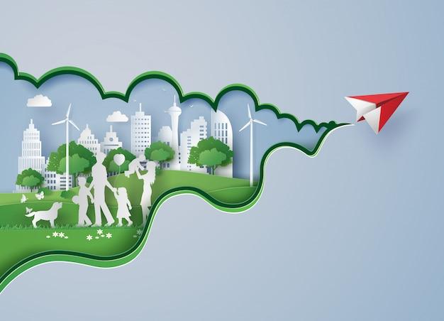 Corte de papel da cidade ecológica