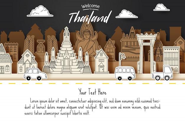 Corte de papel da tailândia doodle conceito de marco, viagens e turismo