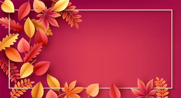 Corte de papel da temporada de outono, folhas de outono coloridas no fundo. ilustração vetorial.
