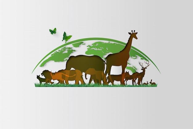 Corte de papel de animais de silhuetas estilo. save animals