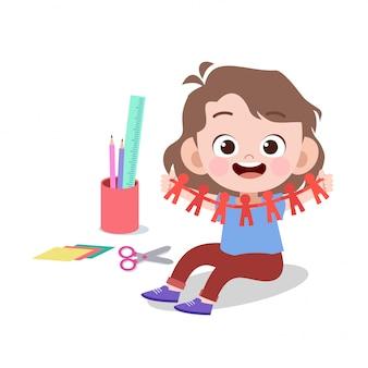 Corte de papel de arte de criança feliz