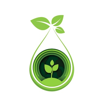 Corte de papel de broto de planta conceito abstrato ecológico folhas da árvore de mudas salvam o planeta natureza
