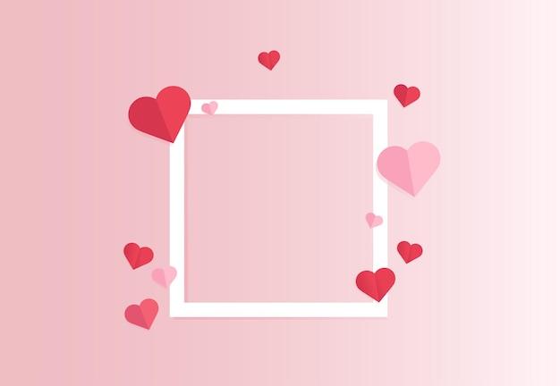 Corte de papel de corações com moldura branca