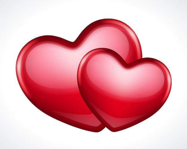 Corte de papel de duas formas de corações
