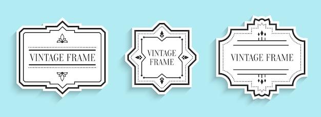Corte de papel de etiquetas brancas vintage retrô cravejado de sombra. preço de venda do menu de etiqueta de borda vazia de forma diferente com elementos decorativos. modelo de pacote para banner de texto, adesivo ilustração isolada