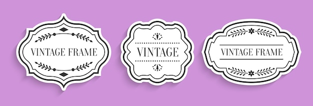Corte de papel de etiquetas brancas vintage retrô cravejado de sombra. preço de venda do menu de etiqueta de borda vazia de forma diferente com elementos decorativos.