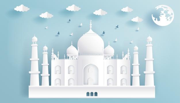 Corte de papel de monumentos mundialmente famosos da índia, taj mahal.