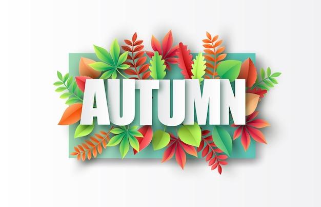 Corte de papel de outono, folhas de plátano no fundo. ilustração vetorial.