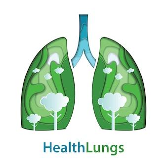 Corte de papel de pulmões humanos de conceito natural