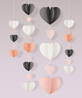 Corte de papel de vetor corações cartão de decoração de festão