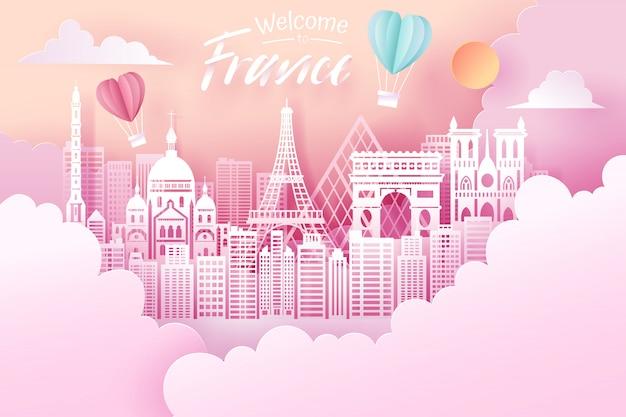 Corte de papel do conceito de marco de frança, viagens e turismo.