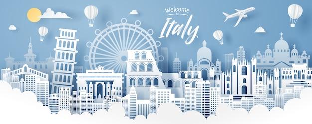 Corte de papel do conceito de marco de itália, viagens e turismo.