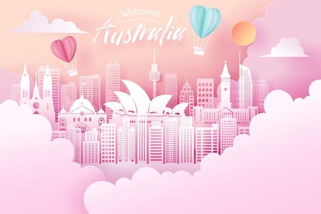 Corte de papel do conceito de marco, viagens e turismo da austrália.