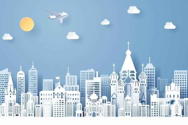 Corte de papel do conceito de marco, viagens e turismo da rússia