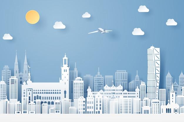 Corte de papel do conceito de marco, viagens e turismo da suécia