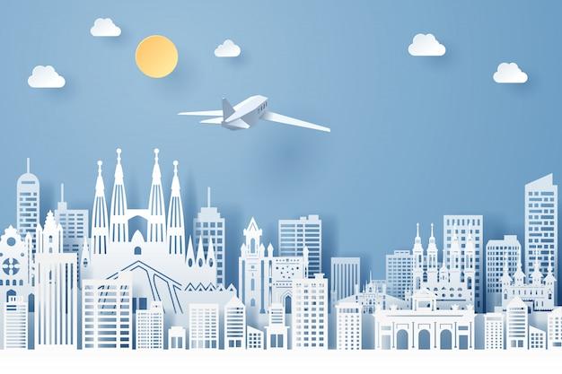 Corte de papel do conceito de marco, viagens e turismo de espanha