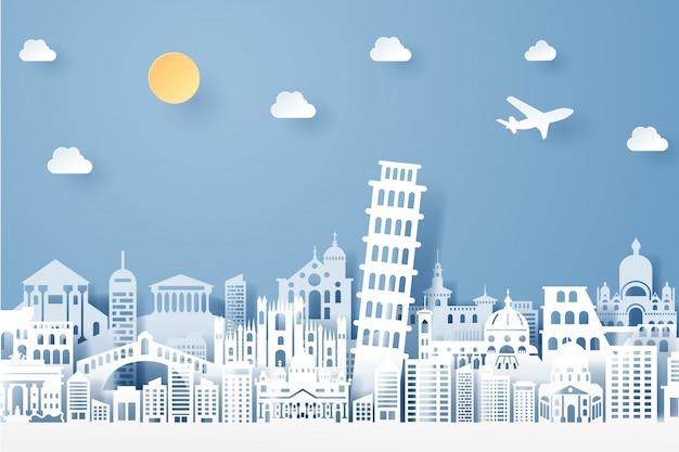 Corte de papel do conceito de marco, viagens e turismo de itália