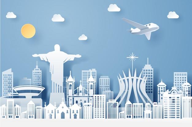 Corte de papel do conceito de marco, viagens e turismo do brasil