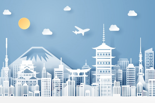 Corte de papel do conceito de marco, viagens e turismo do japão