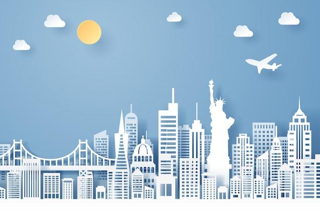 Corte de papel do conceito de marco, viagens e turismo dos eua