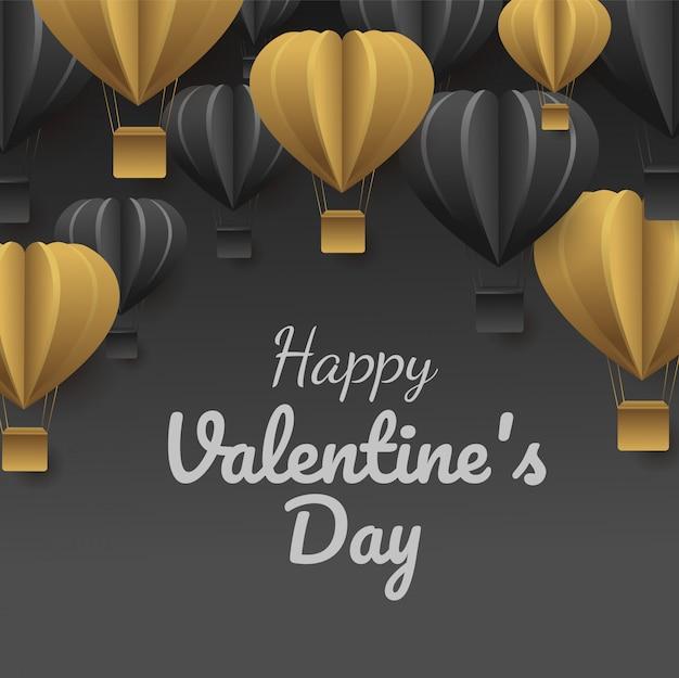 Corte de papel do dia dos namorados celebrar o cartão com balões de ar de forma de coração preto e ouro voando,