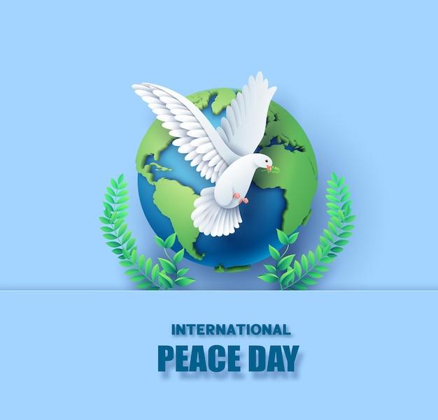 Corte de papel do dia internacional da paz.