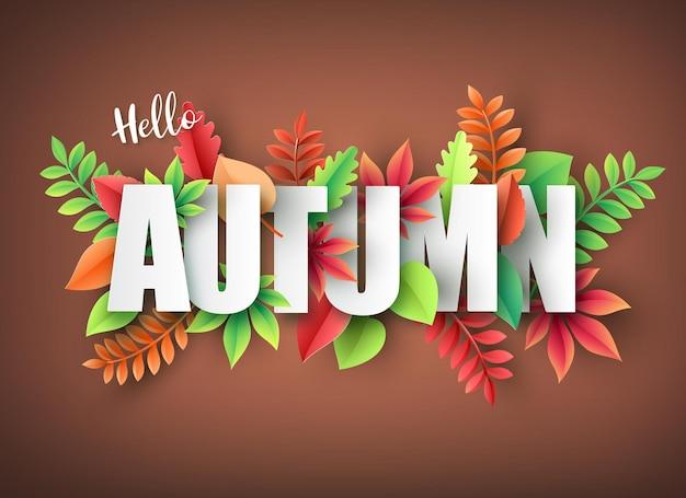 Corte de papel do outono, folhas no fundo. ilustração vetorial.