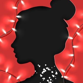 Corte de papel estilo de forma de mulher ou jovem apaixonada no vermelho com espaço brilhante da guirlanda e cópia para sua arte. dia dos namorados, mãe e mulher. arte e