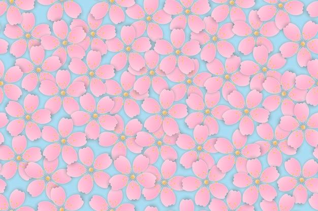 Corte de papel estilo rosa cherry blossom sakura flores desabrochando fundo sem emenda