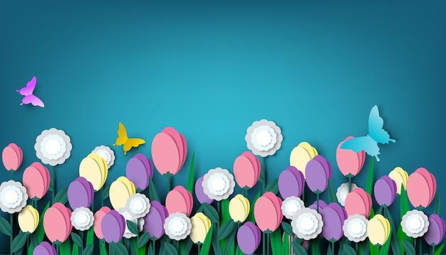Corte de papel floral bonito