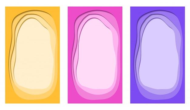 Corte de papel na moda colorido de vetor conjunto de plano de fundo vertical