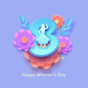 Corte de papel número 8 com silhueta feminina, flores e folhas decoradas em fundo azul