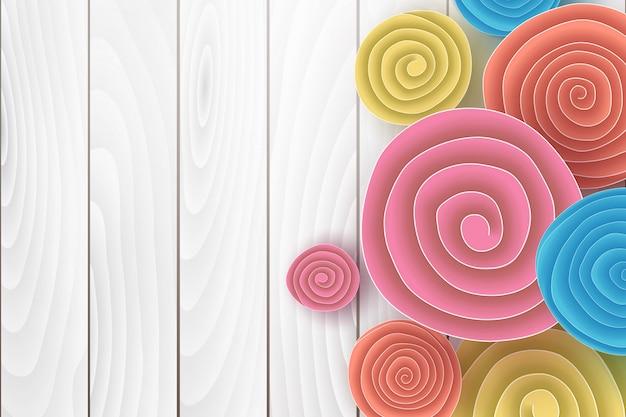 Corte de papel origami e estilo artesanal com círculo de rolo de flores