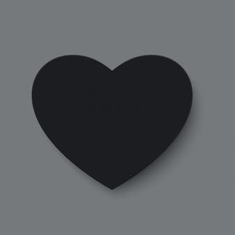 Corte de papel preto coração de amor para dia dos namorados ou quaisquer outros cartões de convite de amor