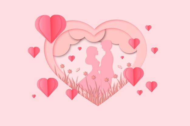 Corte de papel romântico do dia dos namorados