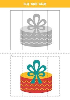 Corte e cole a caixa de presente de natal. planilha educacional para crianças.