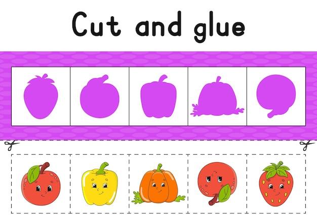Corte e cole a planilha de atividades de cores para crianças