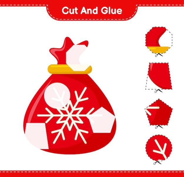Corte e cole, corte partes da bolsa do papai noel e cole-as. jogo educativo para crianças, planilha para impressão