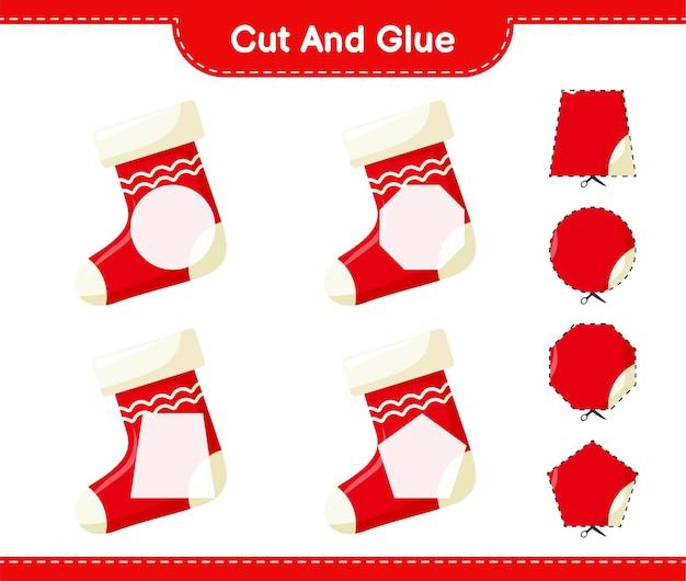Corte e cole, corte partes da meia de natal e cole-as. jogo educativo para crianças, planilha para impressão