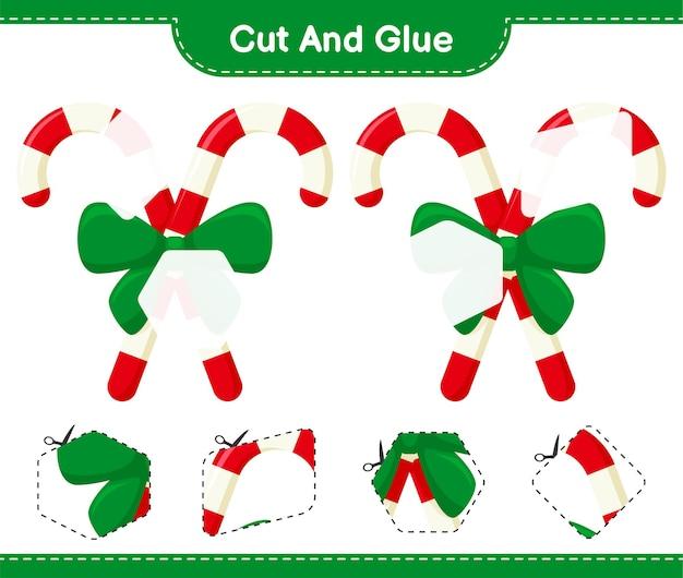 Corte e cole, corte partes de bastões de doces com fita e cole. jogo educativo para crianças, planilhas para impressão