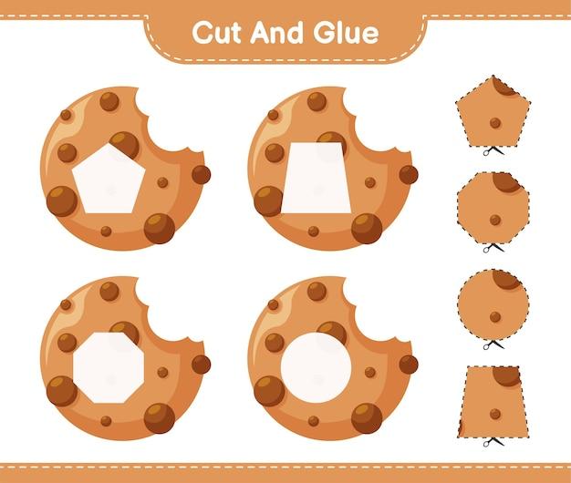 Corte e cole, corte partes de biscoitos e cole-os. jogo educativo para crianças, planilha para impressão