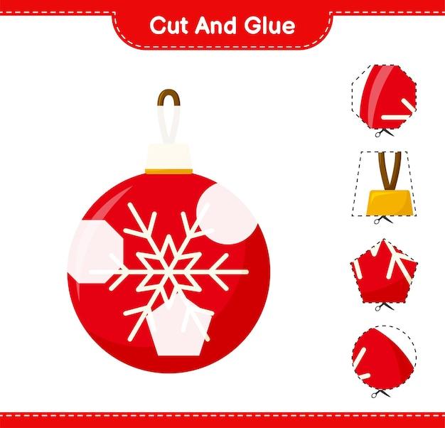 Corte e cole, corte partes de bolas de natal e cole-as. jogo educativo para crianças, planilha para impressão