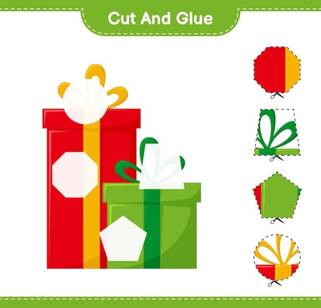 Corte e cole, corte partes de caixas de presente e cole-as. jogo educativo para crianças, planilha para impressão