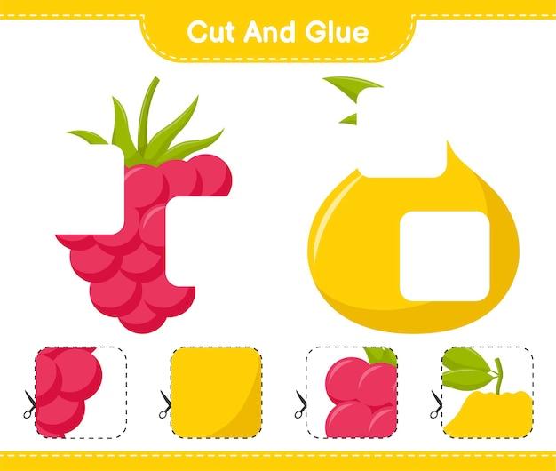 Corte e cole, corte partes de frutas e cole-as. jogo educativo para crianças, planilha para impressão