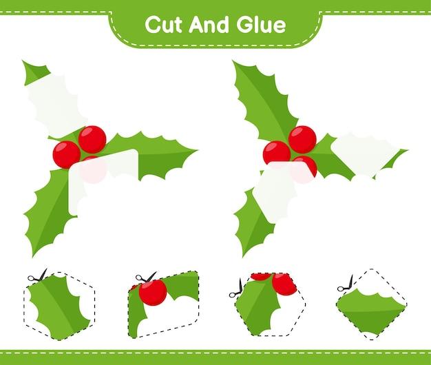 Corte e cole, corte partes de holly berries e cole-as. jogo educativo para crianças, planilha para impressão