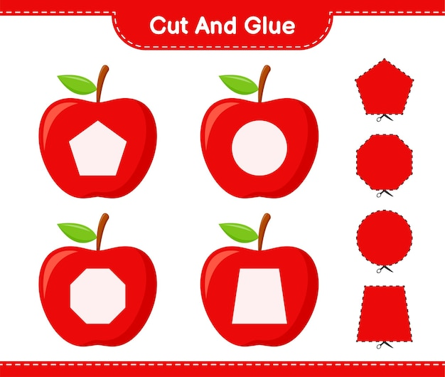 Corte e cole, corte partes de maçã e cole-as. jogo educativo para crianças, planilha para impressão