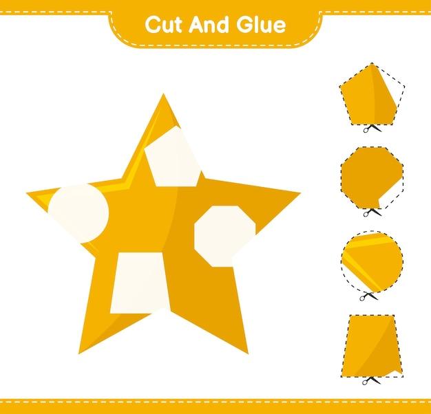 Corte e cole, corte partes de stars e cole-as. jogo educativo para crianças, planilha para impressão