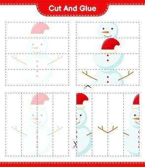Corte e cole, corte partes do boneco de neve e cole-as. jogo educativo para crianças, planilha para impressão
