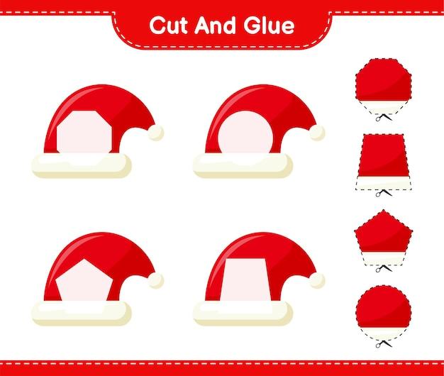 Corte e cole, corte partes do chapéu de papai noel e cole-as. jogo educativo para crianças, planilha para impressão